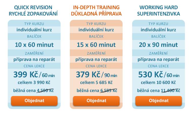 Přípravné individuální kurzy na reparáty z cizího jazyka - výhodné cenové balíčky